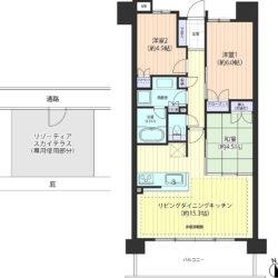 最上階、南向き、屋上テラス付住戸。開放的な眺望! 収納充実の65㎡台・3LDK・全居室に収納スペース(間取)