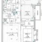 間取 13階建ての5階住戸・67.42㎡・3LDK、南西向き角住戸。現在月額17.4万円(共益費込)にて賃貸中です。年間賃料208.8万円。