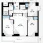 間取 ワイドスパン南向き・角住戸の3LDK。バルコニーに面しているお部屋は、3カ所とも掃き出し窓です。