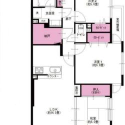 南向き3LDK+S(納戸)の角住戸。和室はリビングダイニングと一体的に利用できます。(間取)