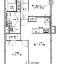 南東向き1SLDK、51.58㎡の住戸。全居室に開放部があり、通風良好です。(間取)