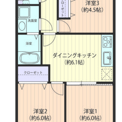 収納充実の50㎡・カウンター付玄関収納・布団が楽に仕舞える奥行が深いクローゼット、DKと洋室を合わせると約12.1帖の大空間に(間取)