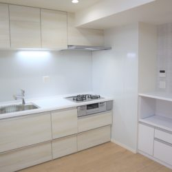浄水器、ワイドシンク、3口ガスコンロ、スライド収納。サイドにカウンターが有、レンジや炊飯器を置けます(キッチン)