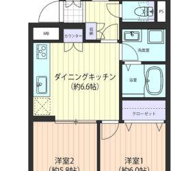 収納充実の53㎡・カウンターや奥行きが有るクローゼット、DKと洋室を合わせると約12.4帖の大空間に(間取)