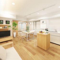 LDKは約12.3帖あり、4人掛けのダイニングテーブル、ソファーセットを置いても広さを確保できます。(居間)