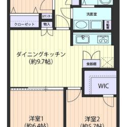 収納充実、ウォークインクローゼットや吊戸棚など。DKと洋室を合わせると約16.1帖の大空間に!(間取)