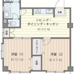 LDK9帖、洋室は2部屋とも6帖以上のフローリング、南東の角住戸のため通風・陽当たり・眺望良好です!(間取)