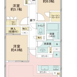 三菱地所レジデンス旧分譲、南側は「第1種低層住居専用地域」のため、落ち着いた住環境が広がります。(間取)