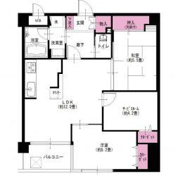 収納充実の60㎡台・2SLDK。全居室に収納スペース、玄関脇収納、カウンター下収納、押入などが充実してます。(間取)