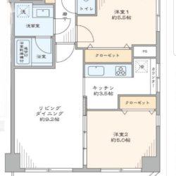 南東向きの2LDK角住戸。洋室(2)はリビングダイニングと一体的に利用できます。(間取)