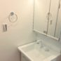 2面鏡の収納スペースがあり、一体型ボウルでお手入れがしやすい仕様です。シャワー水栓でさらに便利。