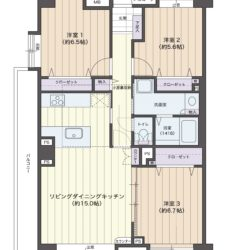 角住戸、収納充実の79㎡・3LDK・L型バルコニー、小屋裏収納が約4.8帖、洋室6.5帖以上×2部屋となります。(間取)