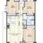間取 角住戸、収納充実の79㎡・3LDK・L型バルコニー、小屋裏収納が約4.8帖、洋室6.5帖以上×2部屋となります。
