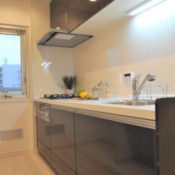 幅が約2.4mのシステムキッチン、3口のガスコンロや浄水器付き水栓、吊戸棚があり使い勝手は良好です。(キッチン)
