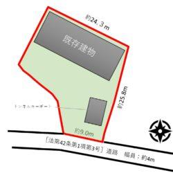 約123坪の広々とした敷地。(地図)