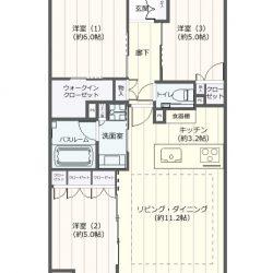 6階建ての4階住戸。南向き、68.8㎡の3LDK(全ての居室がフローリング仕様)。(間取)